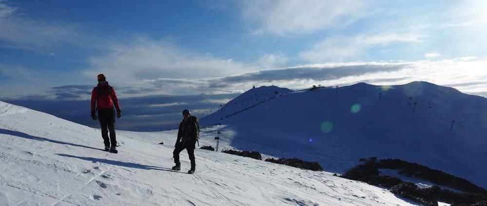 hiking on snow trail hiking Australia