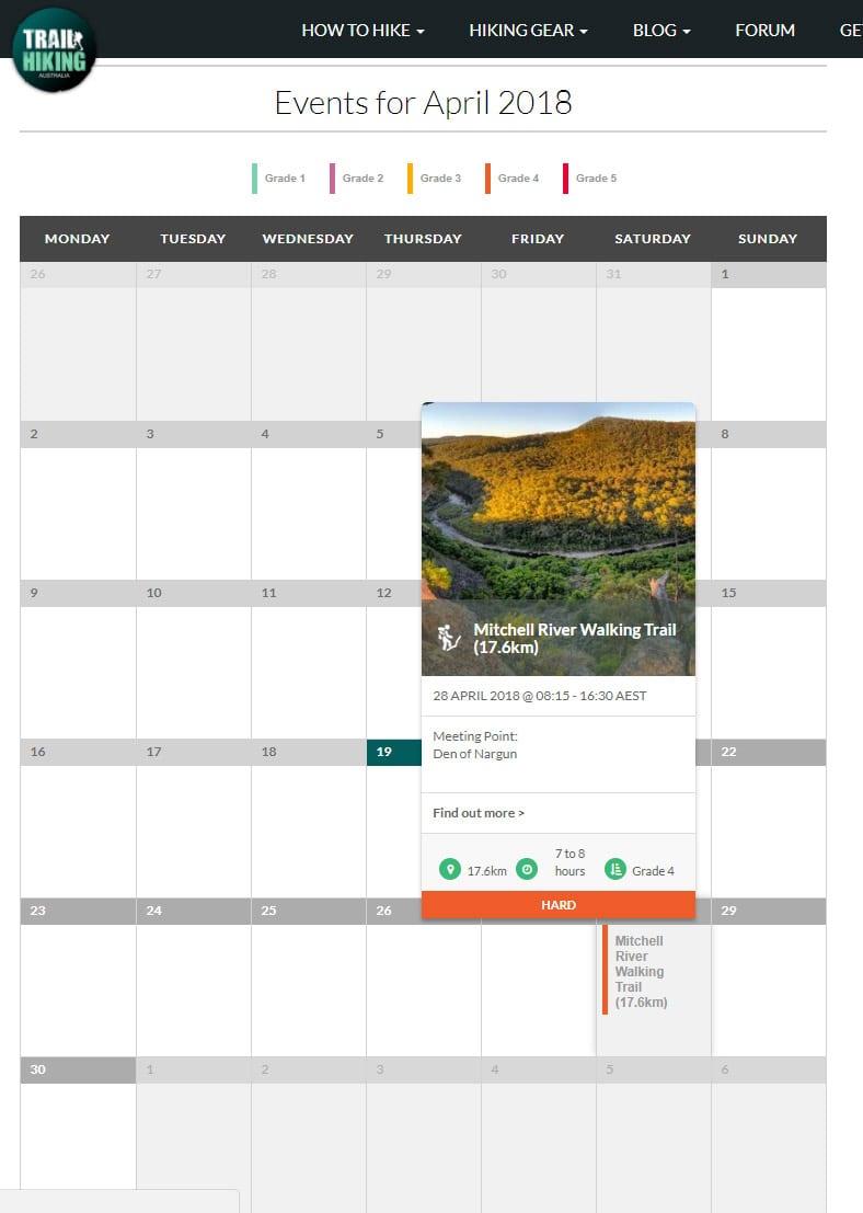 Upcoming Hike Calendar