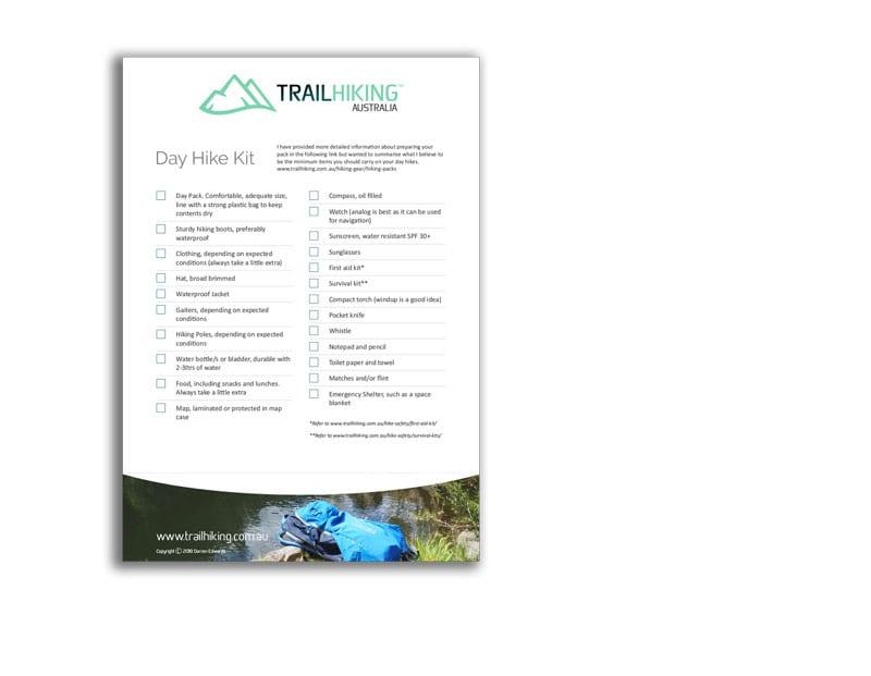 Day Hike Checklist Trail Hiking Australia